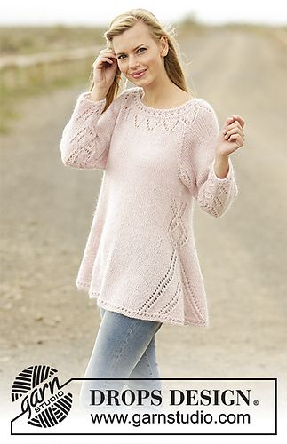 Jumper with lace pattern and raglan, worked bottom up in DROPS Alpaca and DROPS Kid-Silk. Sizes S - XXXL.
