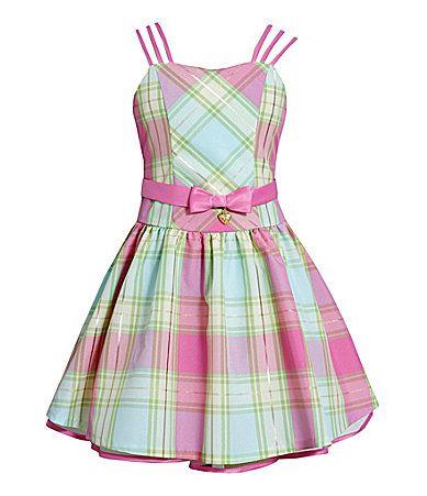 Bonnie Jean 716 TripleStrap Plaid Taffeta Dress #Dillards