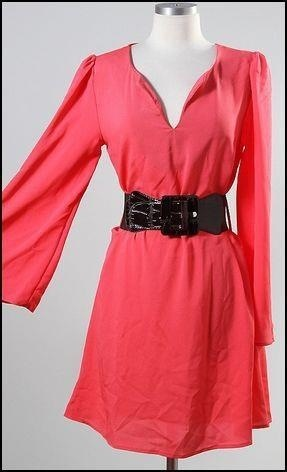 Coral belted dress so perfect for Spring. Email info (at) Gamedaysass . Com