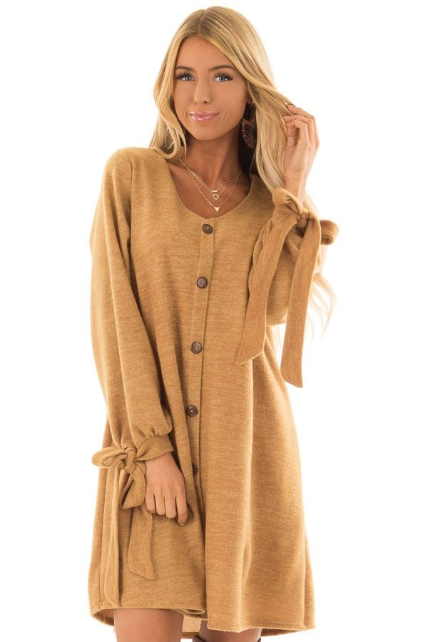 c42e929256b Mustard Long Sleeve Dress with Button Detail front close up