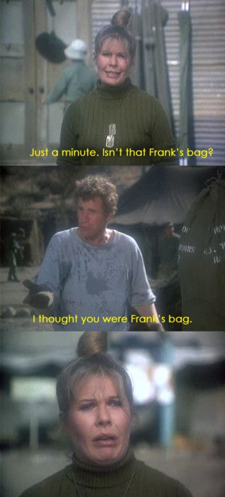'Frank's bag' dosnt look happy. Seriously though her faces throughout the whole series were priceless