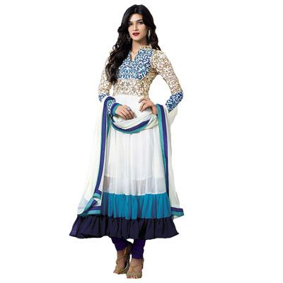 Buy Louis Vogue White Faux Georgette Semi Stitched Suit by LOUIS  VOGUE, on Paytm, Price: Rs.1049?utm_medium=pintrest
