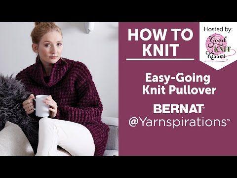 Bernat Easy-Going Knit Pullover, Knit Pattern  | Yarnspirations
