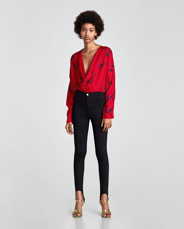ZARA - WOMAN - BODYSUIT WITH CONTRASTING EMBROIDERY