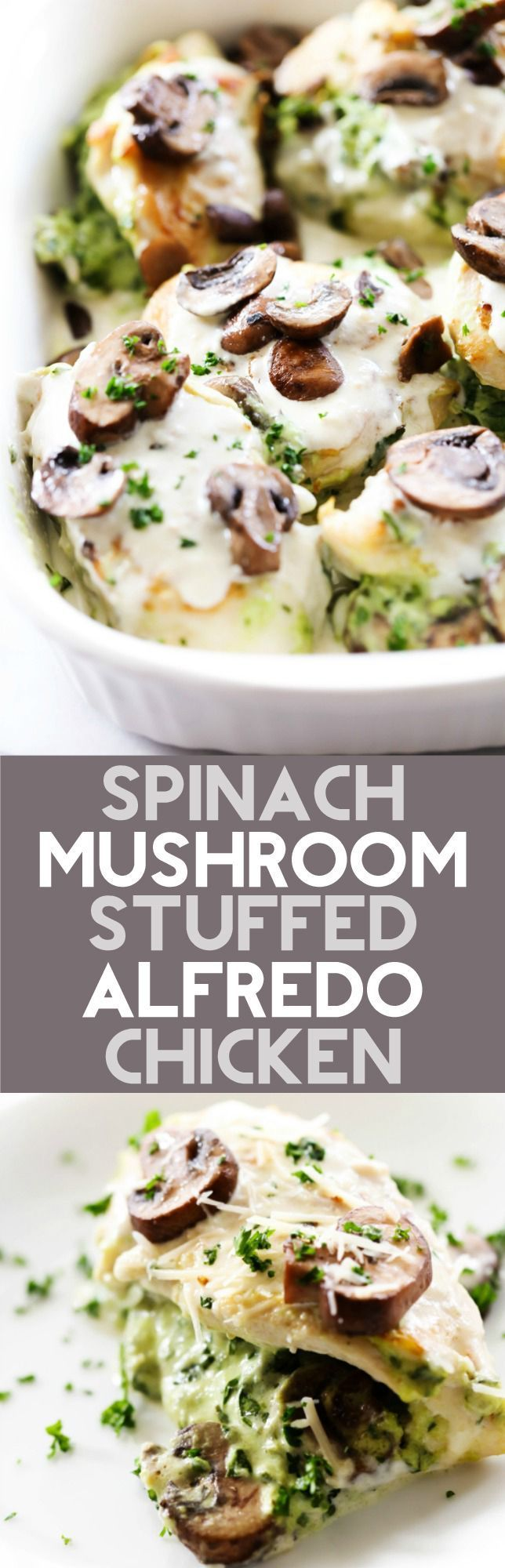 This Spinach Mushroom Stuffed Alfredo Chicken is a keeper. It is loaded with flavor and incredible ingredients and will become a new dinner staple.
