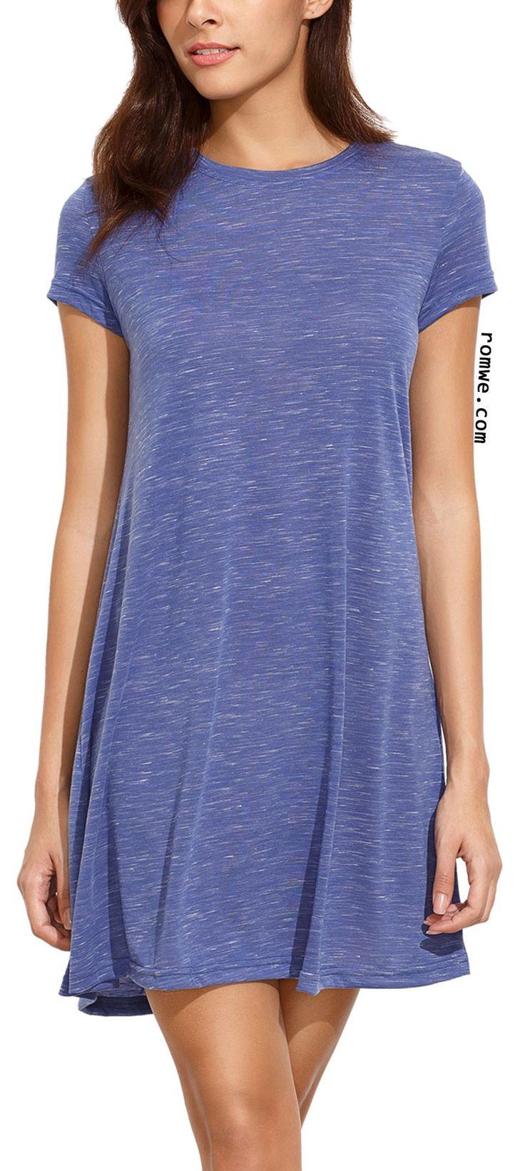 Blue Tees Short Sleeve Casual Dress