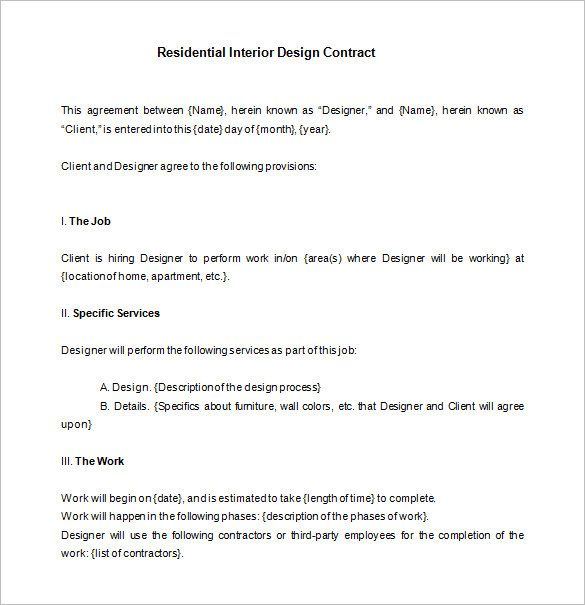 6+ Interior Designer Contract Templates – Free Word, PDF Documents Download! | Free & Premium Templates