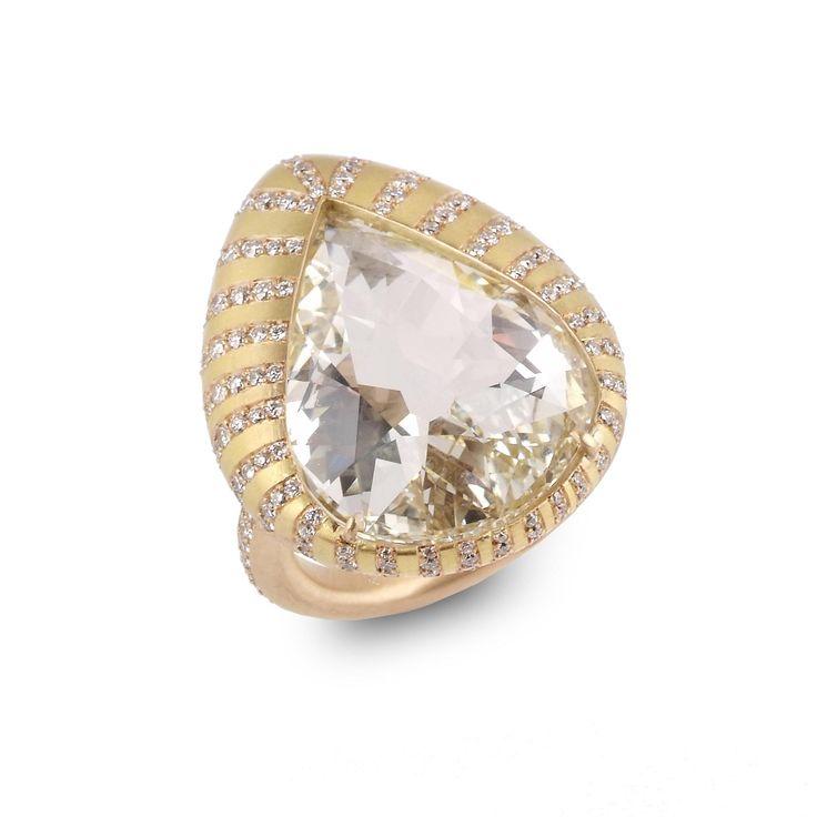 SABBA. A pear-shaped diamond chevalière ring.