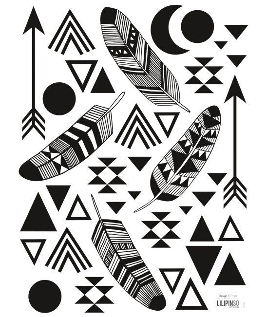 Muurstickers Kinderkamer Lilipinso: Veren & Geometrische vormen Zwart/Wit