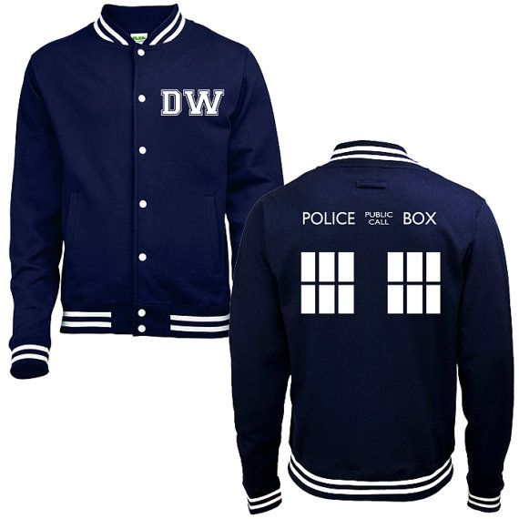 DW TARDIS Police Box College Jacket - Whovian Geek Fan Doctor Who Inspired University Varsity Letterman Baseball Jacket