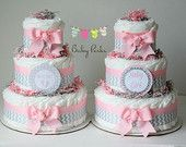 Pink and Grey Baby Shower  . Baby Shower Diaper Cake, Pink and Chevron Diaper cake , baby Shower decorations