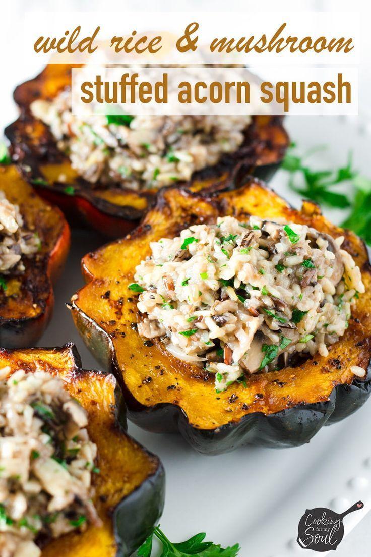 Stuffed Acorn Squash With Wild Rice And Mushrooms Recipe Acorn
