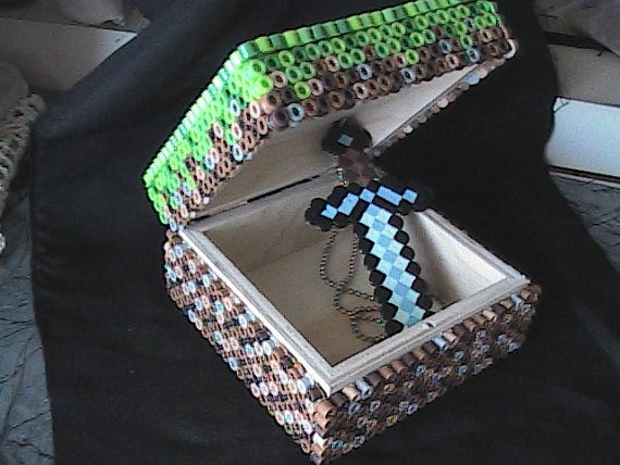 Minecraft Perler Bead Grass Block Box with Pixelated Sword Necklace Inside by AngelFerret