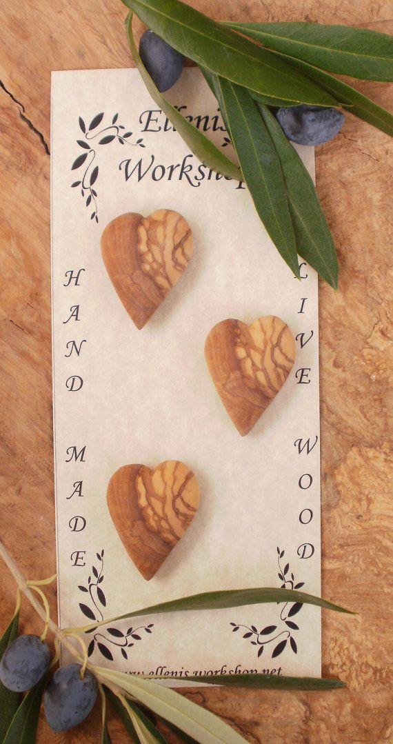Hand made Greek olive wood Heart shaped toggle by ellenisworkshop, $25.00