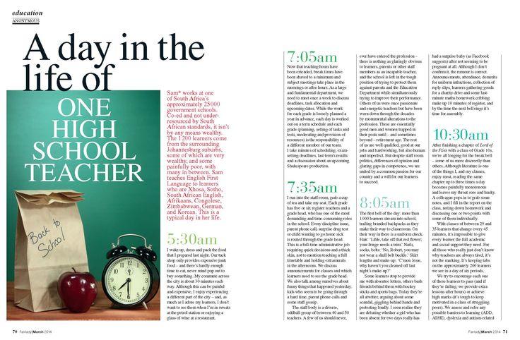 A Day in the Life of One High School Teacher   Fair Lady