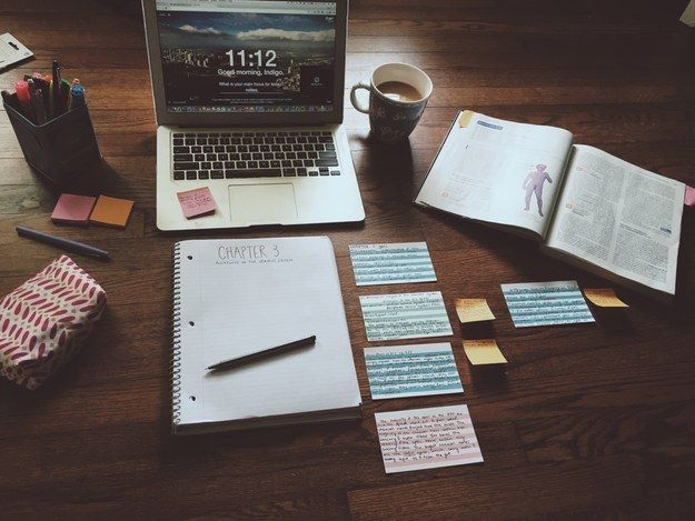 Dark wood tables and YES.| 25 Studying Photos That Will Make You Want To Do Well In School For Once