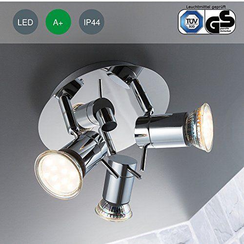 LED Bad Deckenleuchte Deckenlampe schwenkbar spritzwasser gesch�tzt IP44 Badlampe Badezimmer Leuchte Deckenstrahler Spotleuchte GU10 3 x 3W 250lm warmwei� chrom