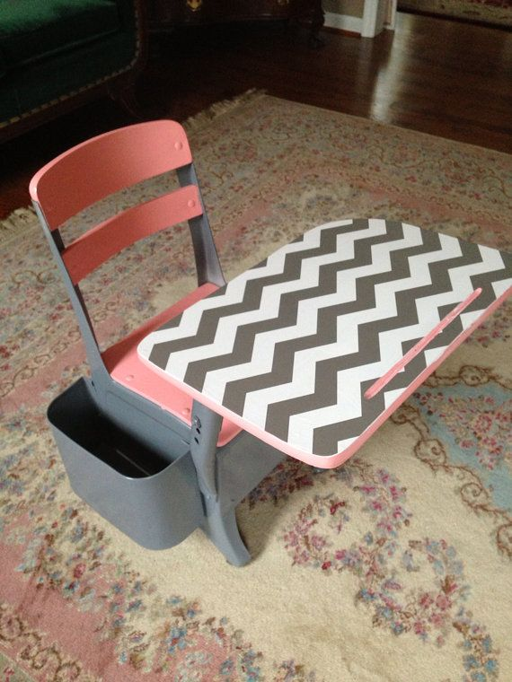Retro grey and white chevron with peach small desk by megsygirl, $135.00
