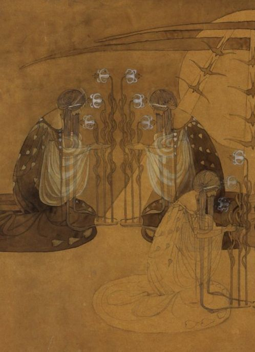 Artemis Dreaming, The Moonlit Garden Detail Frances Macdonald.