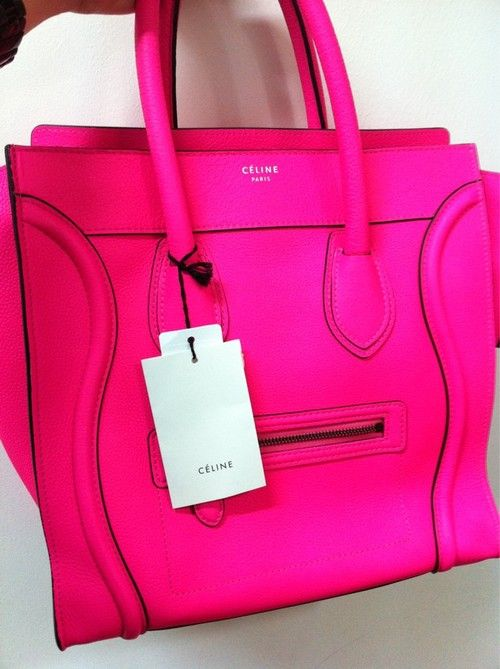 so fab: Fashion, Women Handbags, Pink Celine, Celine Bags, Color, Pink Bags, Hot Pink, Neon Pink, While