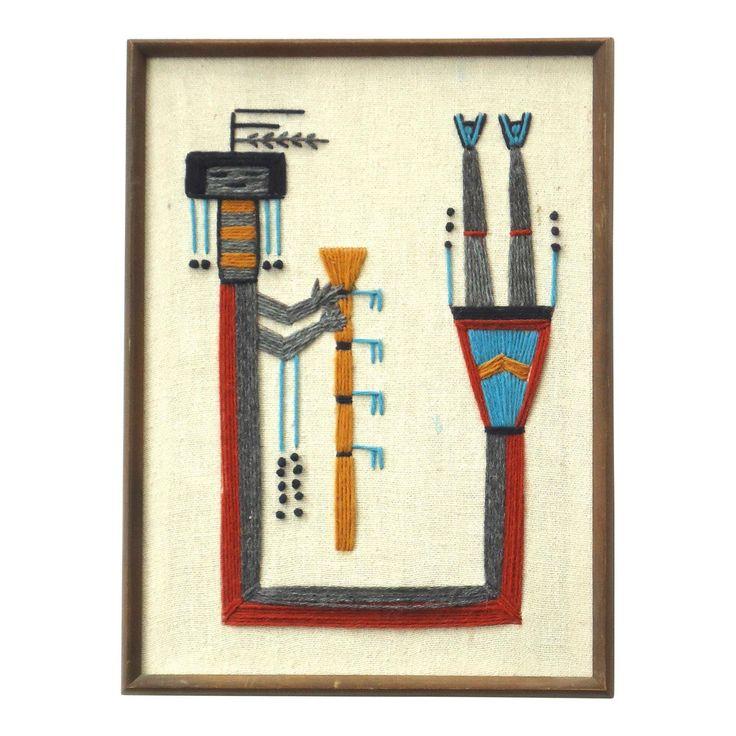 Vintage Southwestern Framed Embroidery - Image 1 of 5