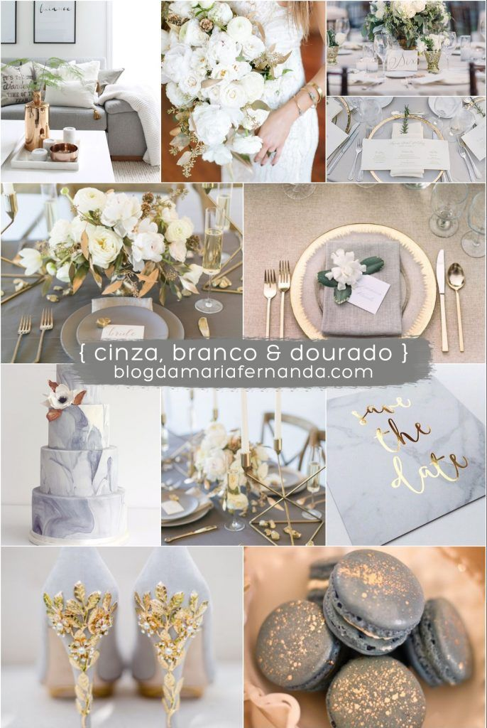 Decoração de Casamento Paleta de Cores Cinza, Branco e Dourado / Wedding Color Palette Grey, White and Gold Inspiration Board