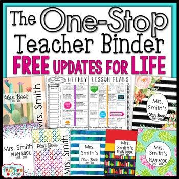 This #1 Selling Teacher Binder is Editable and Customizable! Choose to print your planner or go 100% digital! Either way, the One Stop Teacher Binder offers tons of useful forms, dated lesson plans, gorgeous designs, and calendars to use throughout the year.