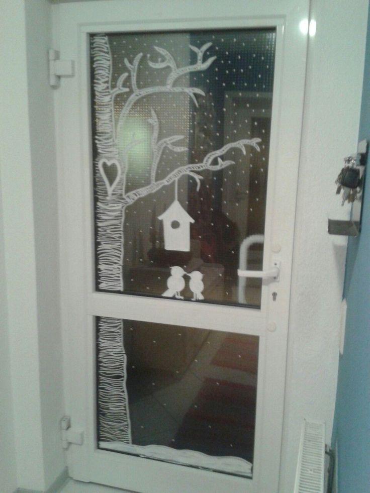 Haustür mit Kreidemarker bemalt. #herbstdekofenst…