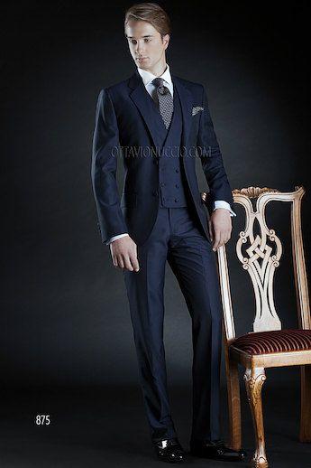 ONGala 875 - Italienische Bräutigam Anzug, marine blau, aus Mohair Wolle