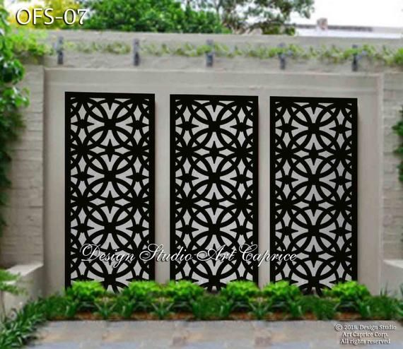 Metal Privacy Screen Fence Decorative Panel Wall Art Etsy Outdoor Wall Panels Outdoor Wall Decor Garden Wall