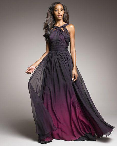 Monique Lhuillier Purple Shirred Ombre Gown