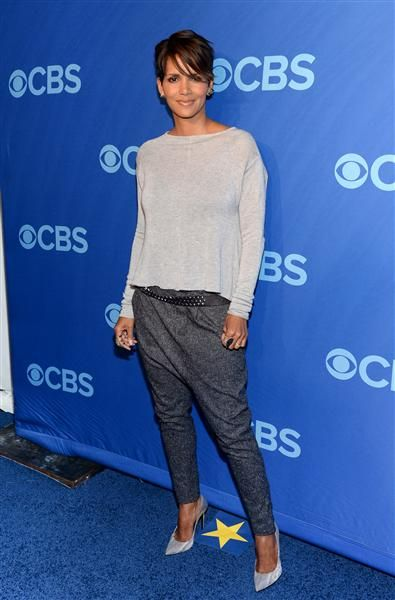 Interesting choice of pants, Halle Berry! See more star style on Wonderwall: http://on-msn.com/1nG5NG6