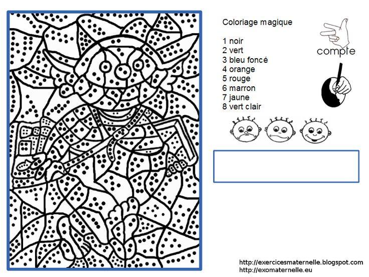 Maternelle: Coloriage magique : le petit ogre