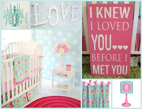 Design your babies nursery in style with this designer teal & pink floral girls room
