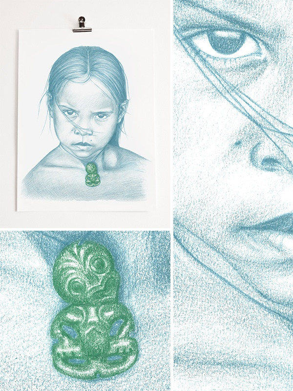 Maori Girl 1 (Reproduction from 2001/2002 pencil portrait on paper)