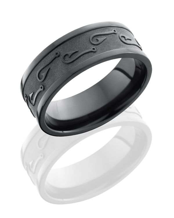 Zirconium wedding ring for the man that 39 s always gone for Fish hook wedding ring