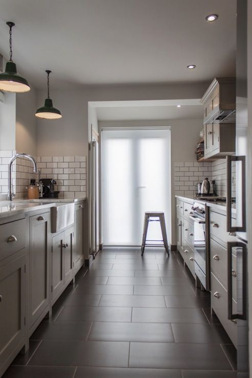 Kitchen: grey cabinets, subway tile, barn lights. I like the look and feel of this kitchen for a shipping container house