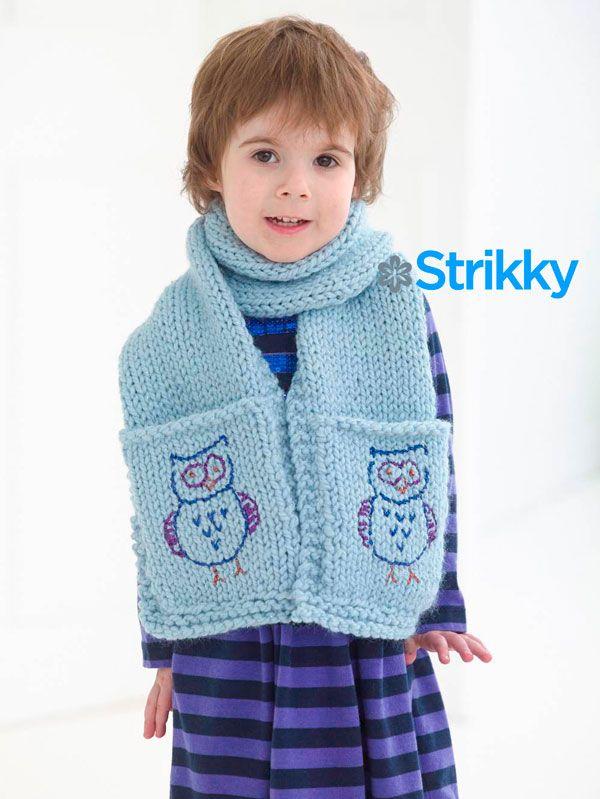 Детский шарф с карманами и вышивкой «Совы», вязаный спицами