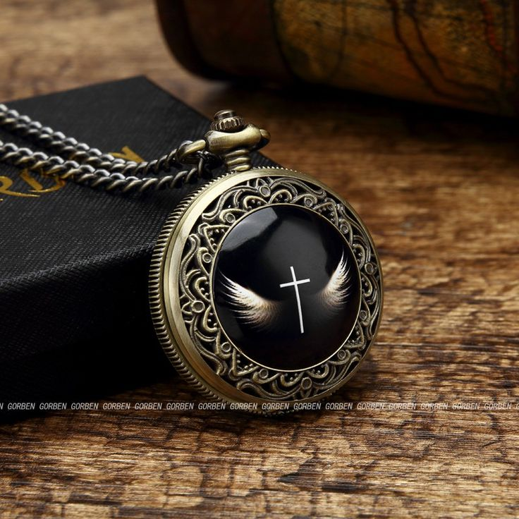 2016 Gorben Vintage Angel Wings Cross Pocket Watch Mens With Fob Chain Gift Box Set God's Angels Cross Wings Quartz Women Watch - Online Shopping for Watches