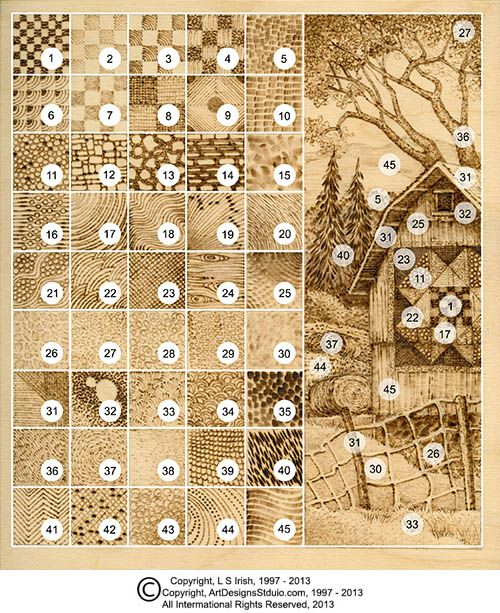 pyrography practice board chart guide