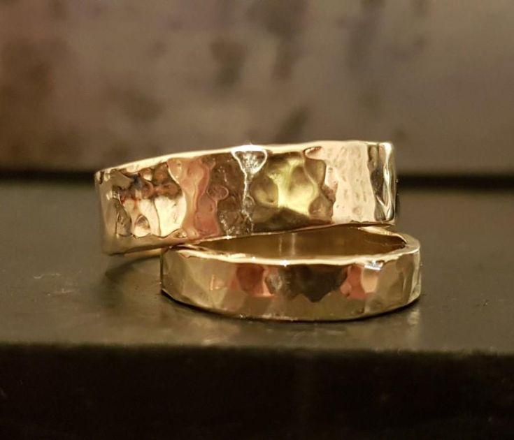 9K Gold Wedding Band Rings - Wedding Ring Set - Handmade Rings - Classic Timeless Gold Rings - Bridal Jewelry - Venexia Jewelry