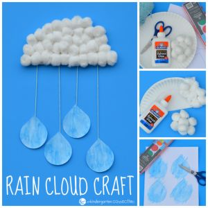 This rain cloud craft for kids is a super fun activity to bring in spring! Made with simple materials, it also makes a great classroom display!