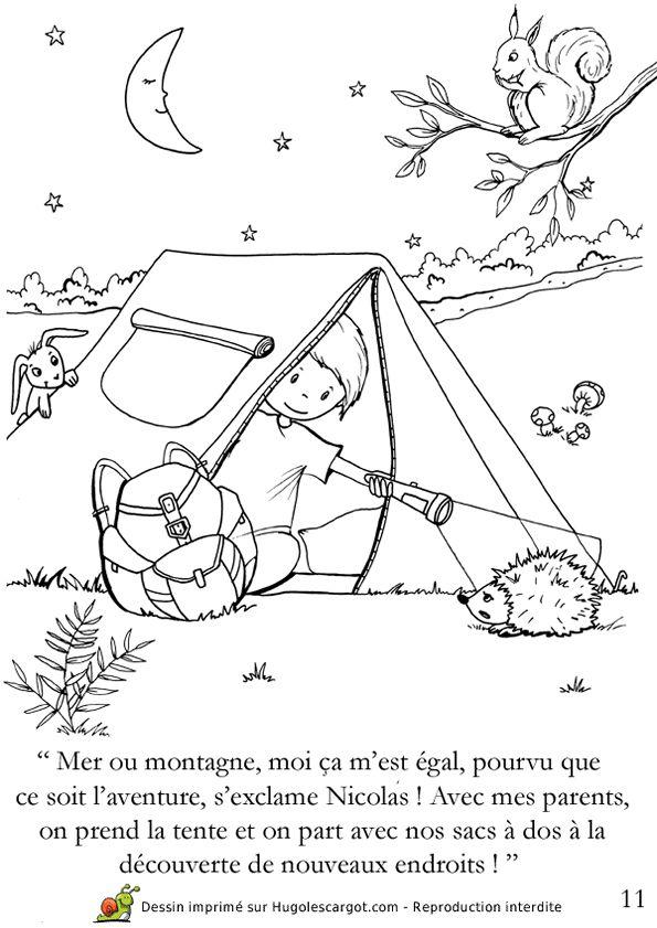 Coloriage d un enfant au camping coloriages vacances d - Dessin de vacances ...