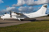 Nordic Aviation Capital (NAC) ATR 42-500 PR-TKF aircraft, parked at Denmark Billund Airport. 29/08/2016.