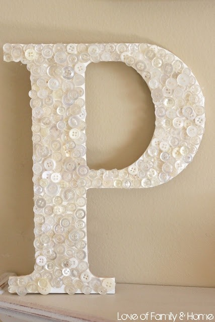Previous Pinner: I saw these letters at Michaels last week for like $0.05 each, but I couldn't think what to do with them! Cover them in buttons.