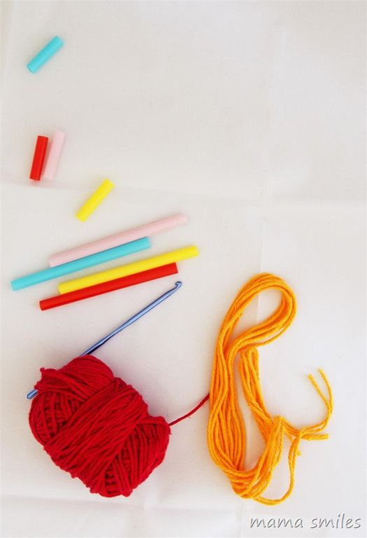 all you need for straw weaving is straws, scissors, and yarn. A crochet hook can be helpful, but it is not necessary.