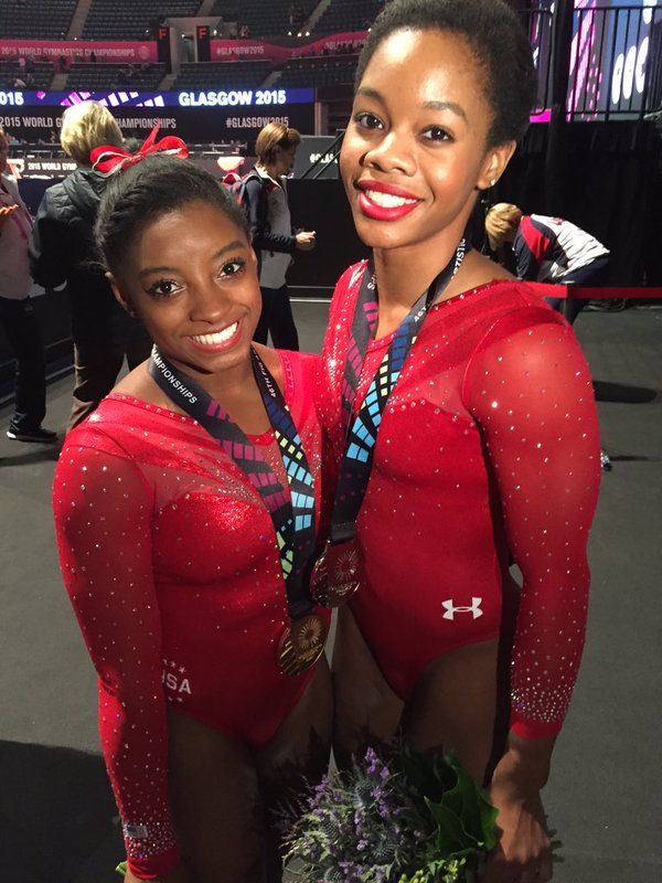 28oct2015---simon biles and gabby douglas go 1 and 2 in the world gymnastics championship, glascow, scotland