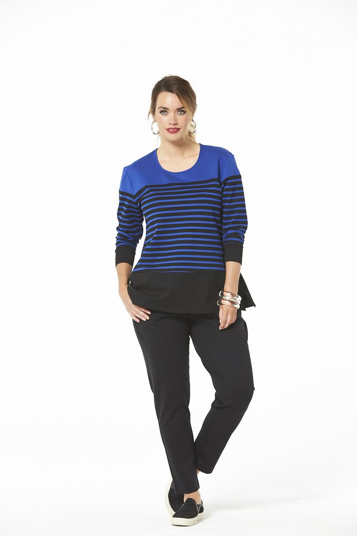 Sporty Tunic Top in Black & Blue