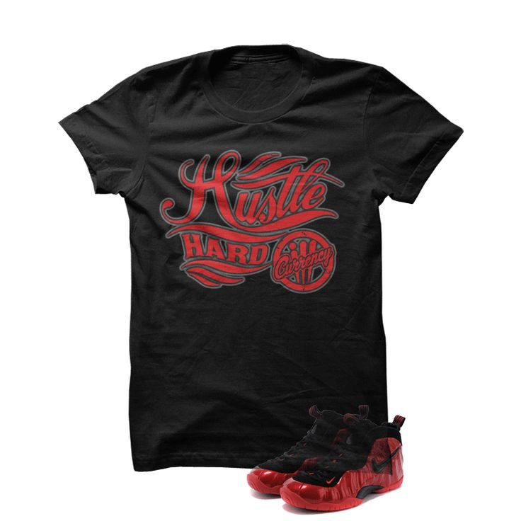 University Red Foams Black T Shirt (Hustle Hard)
