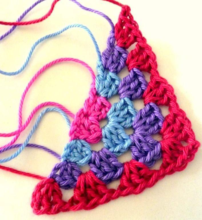 half granny squares - triangle granny square